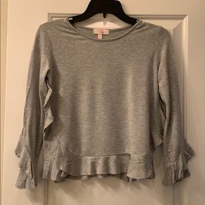 Grey Top with ruffle accent